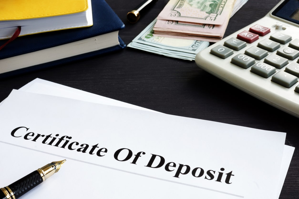 paper with certificate of deposit on it