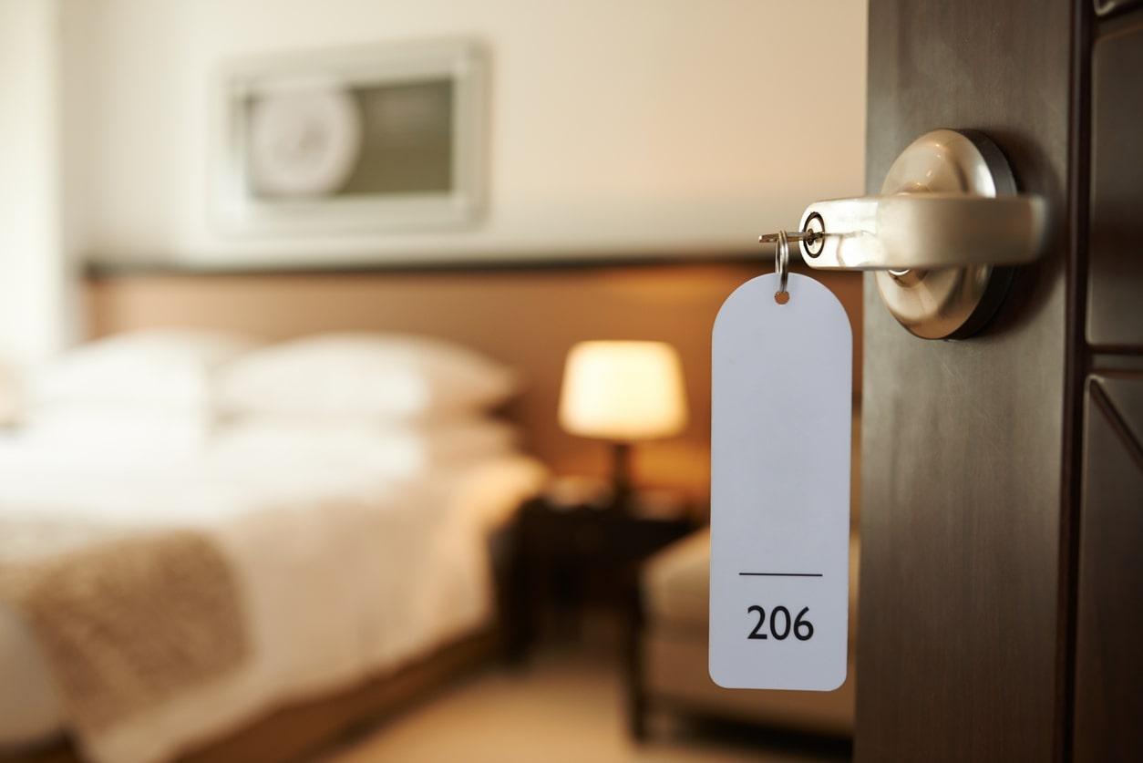 Hotel key opening door